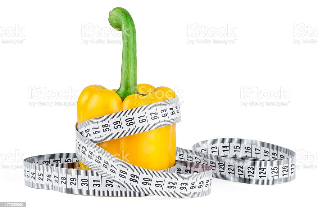 Ripe pepper with meter stock photo