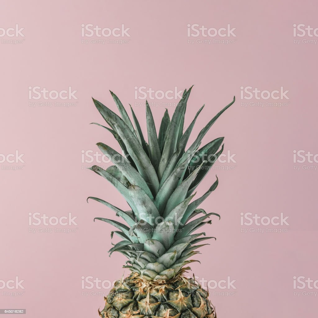 Ripe pineapple close up on pink pastel background. Minimal fruit concept. stock photo