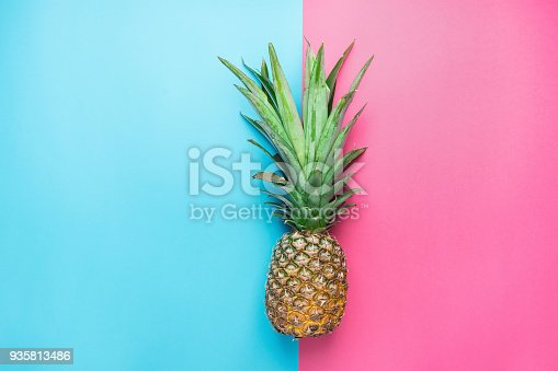 istock Ripe Pineapple with Bushy Green Leaves on Split Duotone Pink Blue Background. Summer Vacation Travel Tropical Fruits Vitamins Fashion Concept. Flat Lay Copy Space 935813486