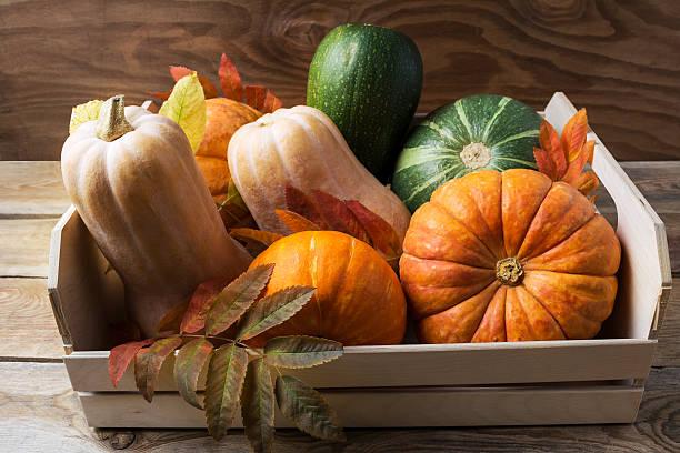 Ripe pumpkins in wooden box stock photo