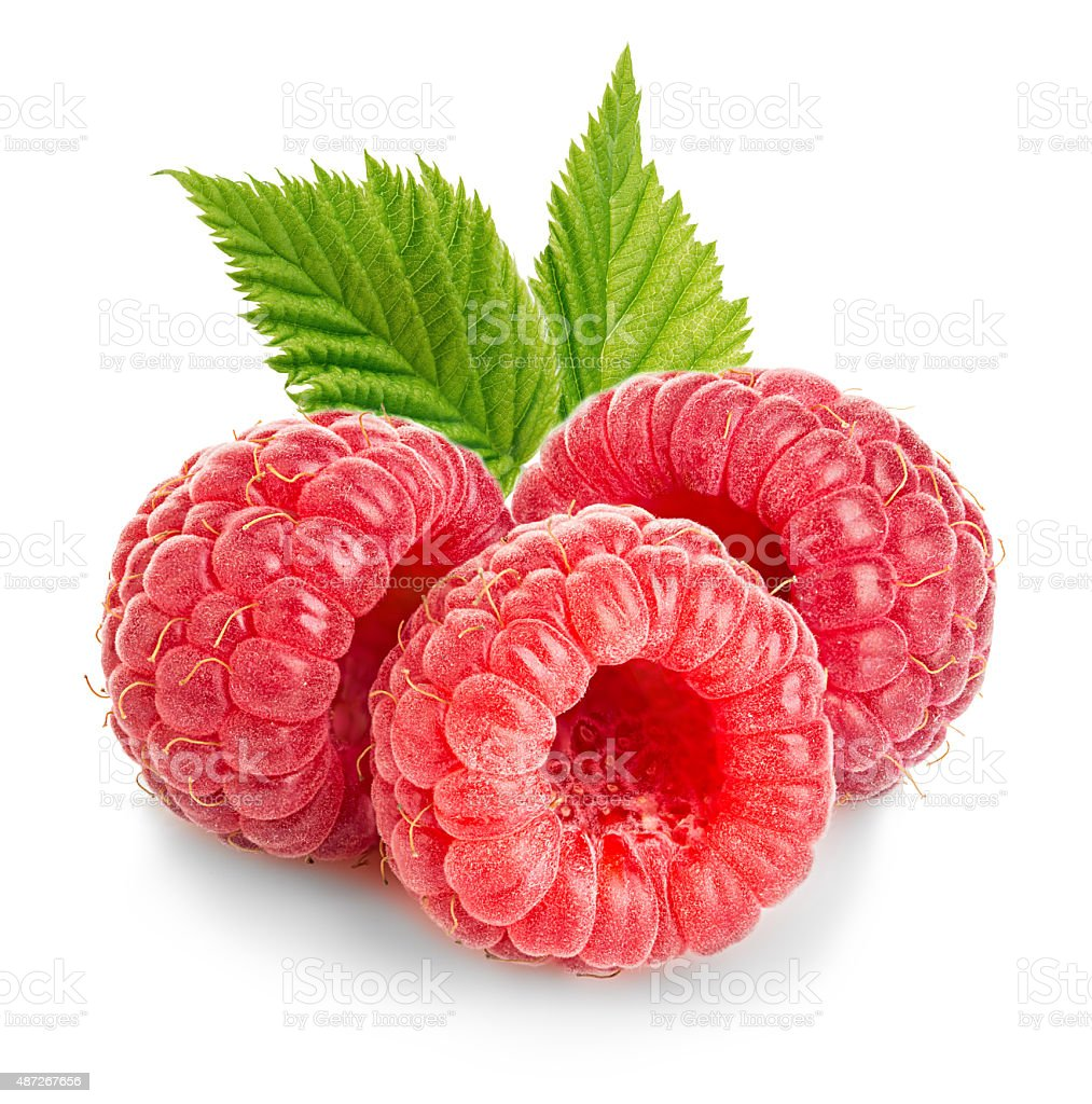Ripe raspberries with leaves close-up isolated on a white background stock photo