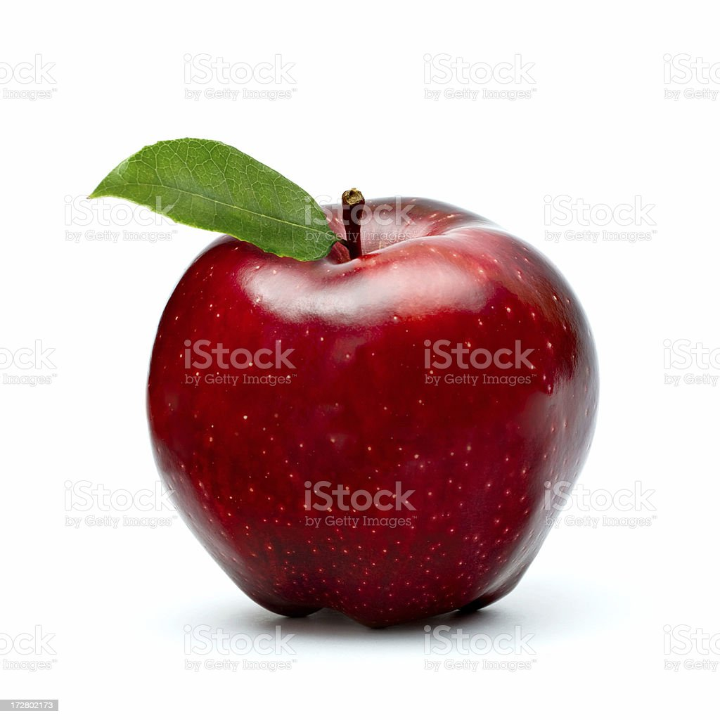 ripe red apple with green leaf isolated on white royalty-free stock photo