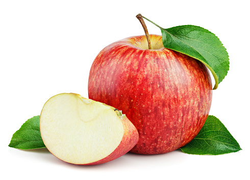 Ripe red apple fruit with apple slice and green leaves isolated on white background. Red apples and leaves with clipping path