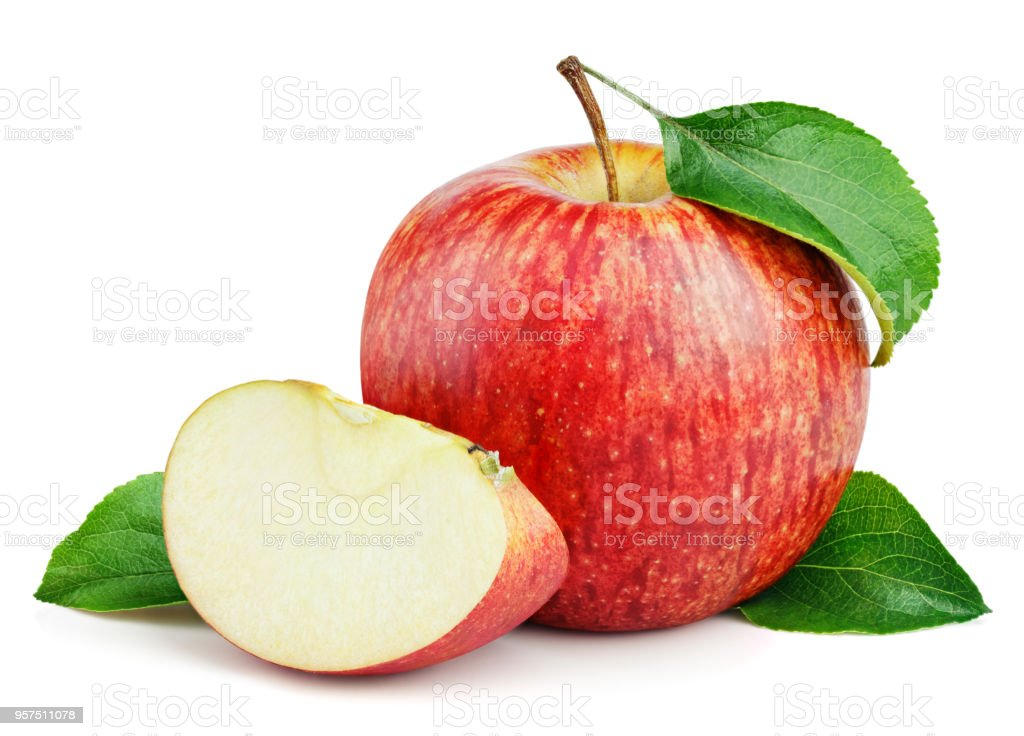 Ripe red apple with slice and leaves isolated on white - fotografia de stock