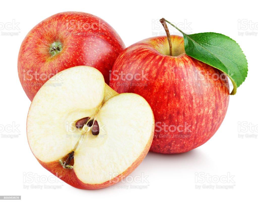 Manzana y manzanas rojas maduras con mitad hoja aislados en blanco foto de stock libre de derechos