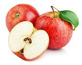半分熟した赤いリンゴとリンゴ葉の分離ホワイト