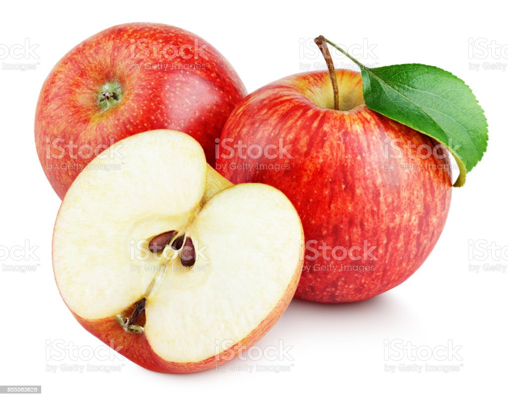 Ripe red apples with half and apple leaf isolated on white stock photo