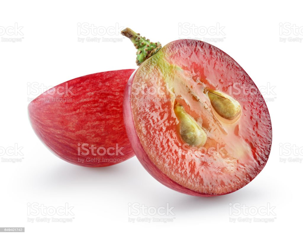 Ripe red grape isolated on white. With clipping path. Full depth of field. stock photo