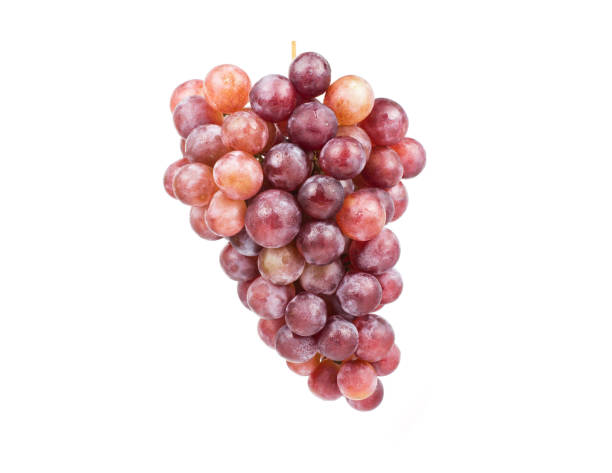 Ripe red grape. Pink bunch isolated on white. Full depth of field. stock photo