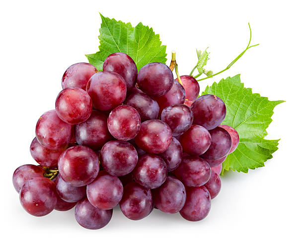 ripe red grape with leaves isolated on white - 提子 個照片及圖片檔