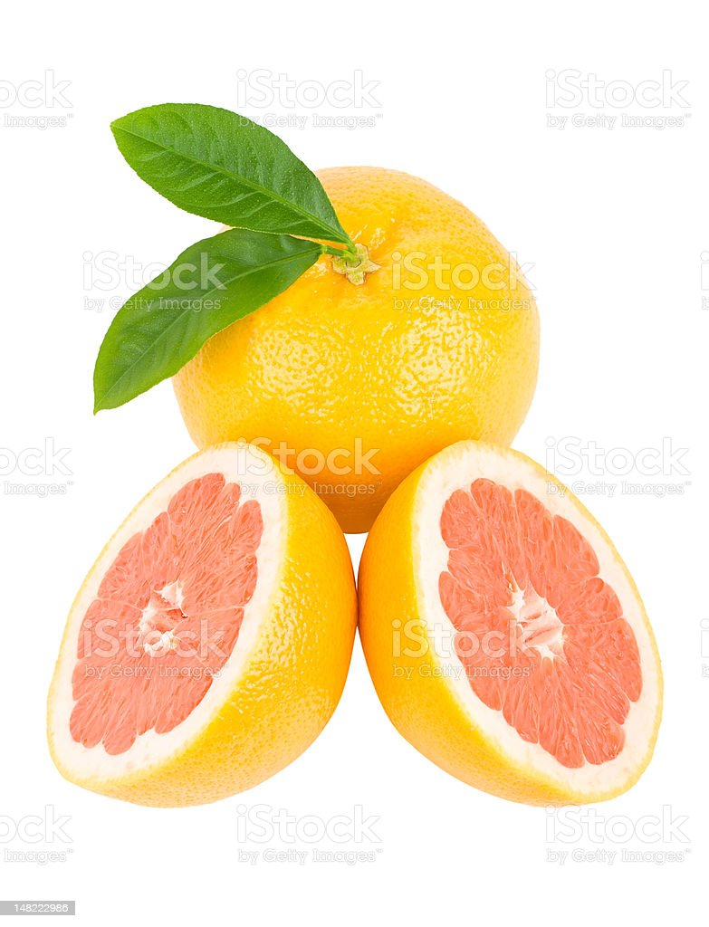 ripe red grapefruits with leaves royalty-free stock photo