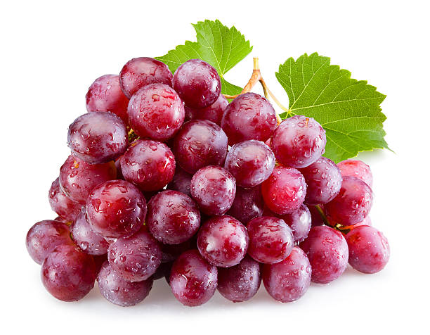 ripe red grapes with leaves isolated - 提子 個照片及圖片檔