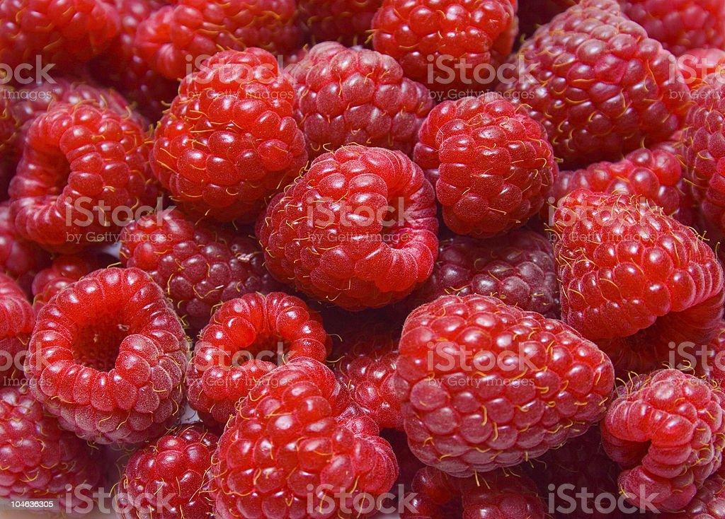 Ripe red raspberries stock photo