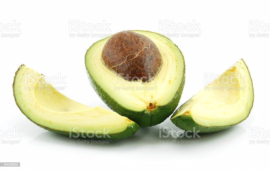 Ripe Sliced Avocado Isolated on White royalty-free stock photo