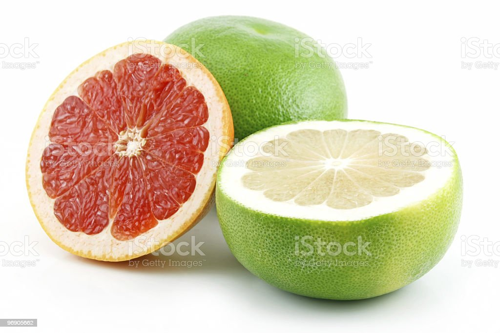 Ripe Sliced Grapefruit Isolated on White royalty-free stock photo