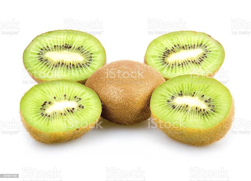 Ripe Sliced Kiwi Fruits Isolated royaltyfri bildbanksbilder