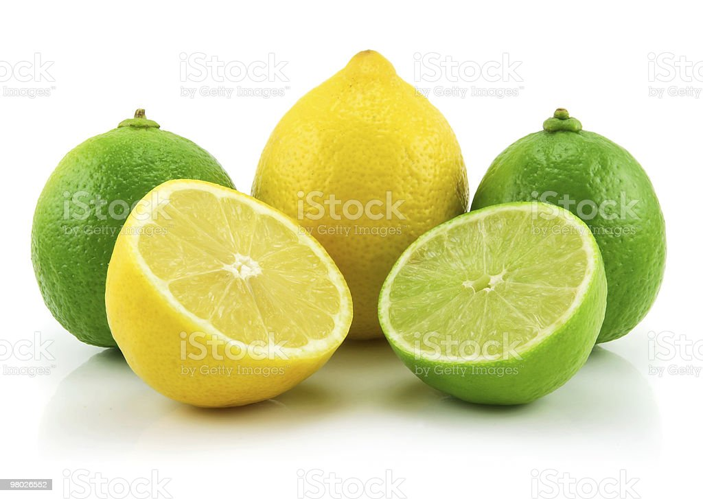 Ripe Sliced Lime and Lemon Isolated on White royalty-free stock photo