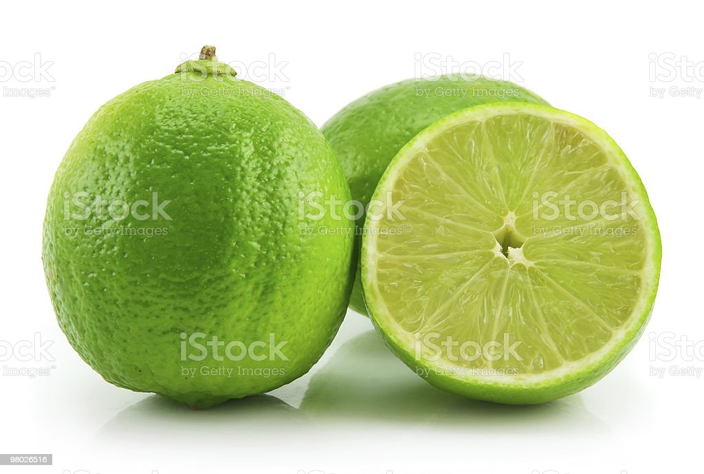 Ripe Sliced Lime Isolated on White royalty-free stock photo