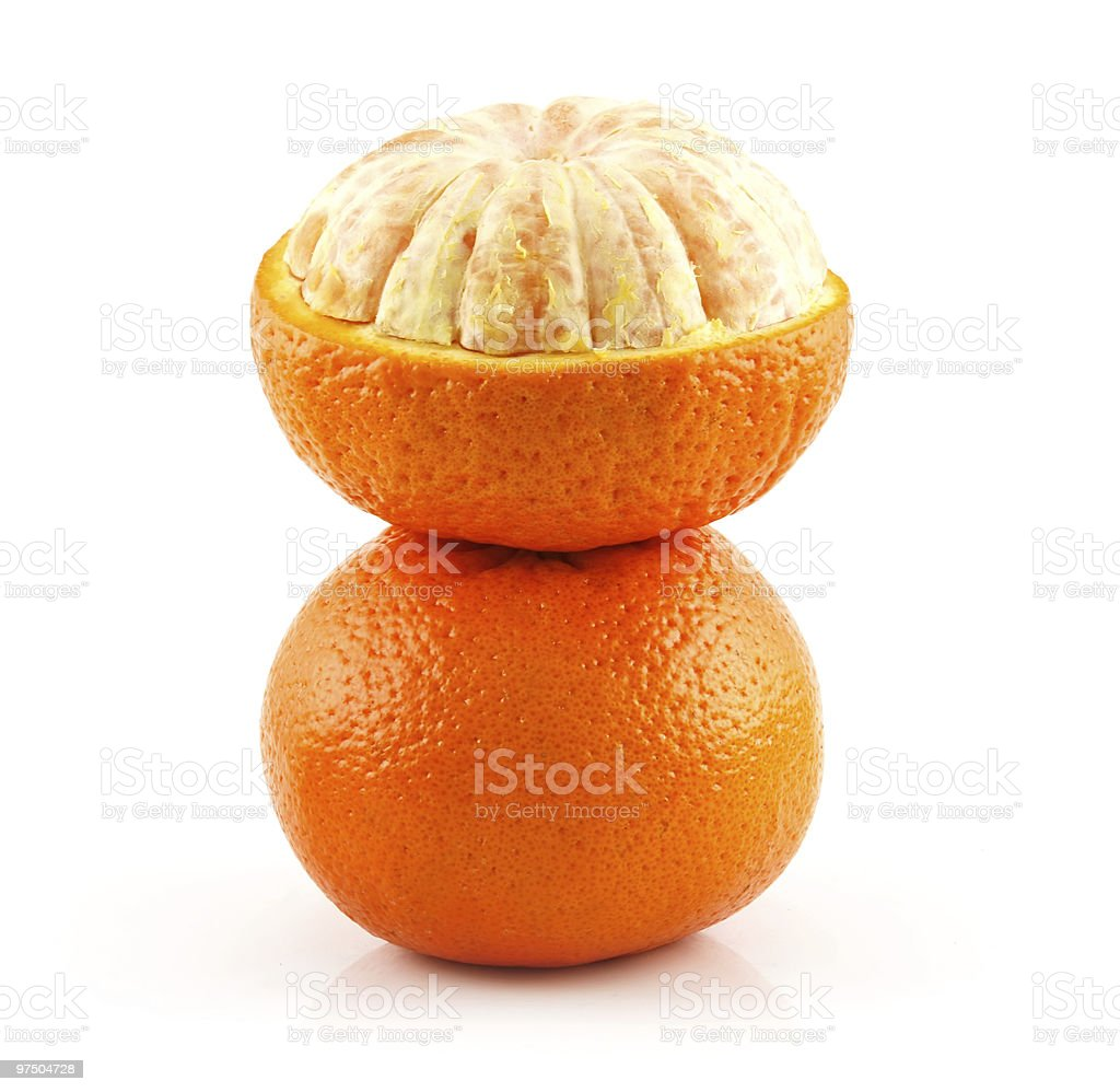 Ripe Sliced Tangerine Fruit Isolated on White royalty-free stock photo