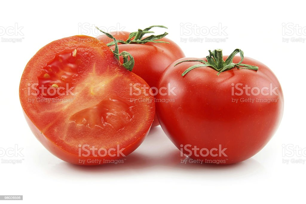 Ripe Sliced Tomatoes Isolated on White royalty-free stock photo