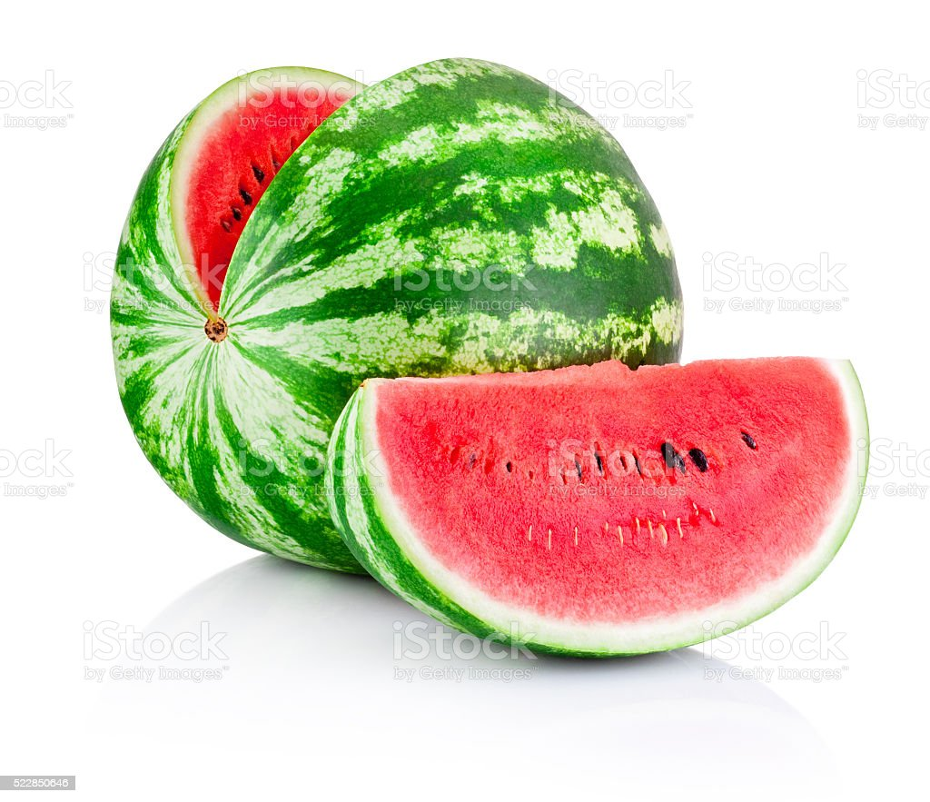 Ripe sliced watermelon isolated on white background stock photo