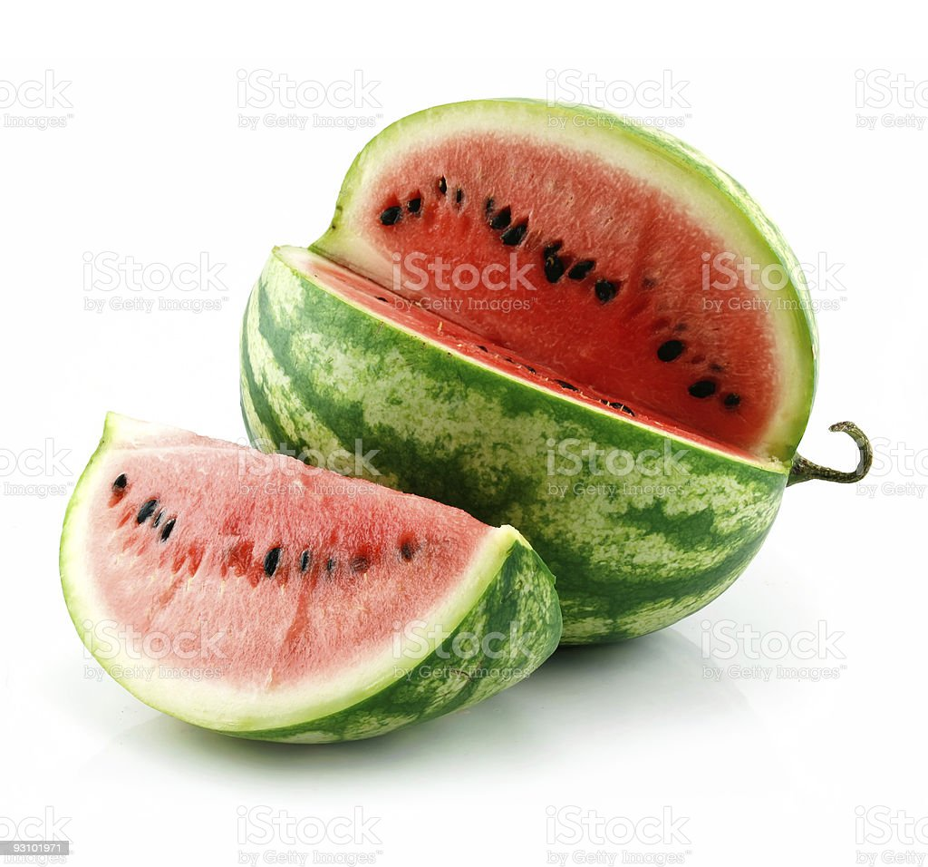 Ripe sliced watermelon on a white background royalty-free stock photo