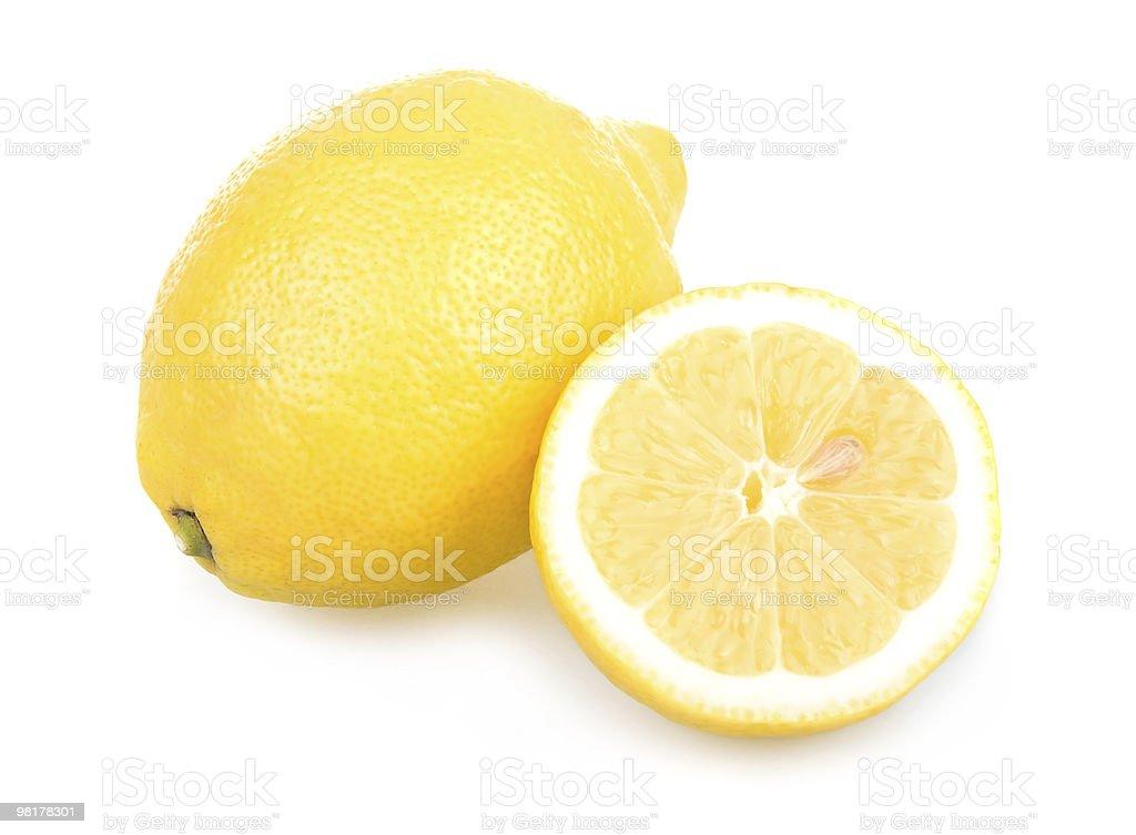 Ripe Sliced Yellow Lemons Isolated royalty-free stock photo