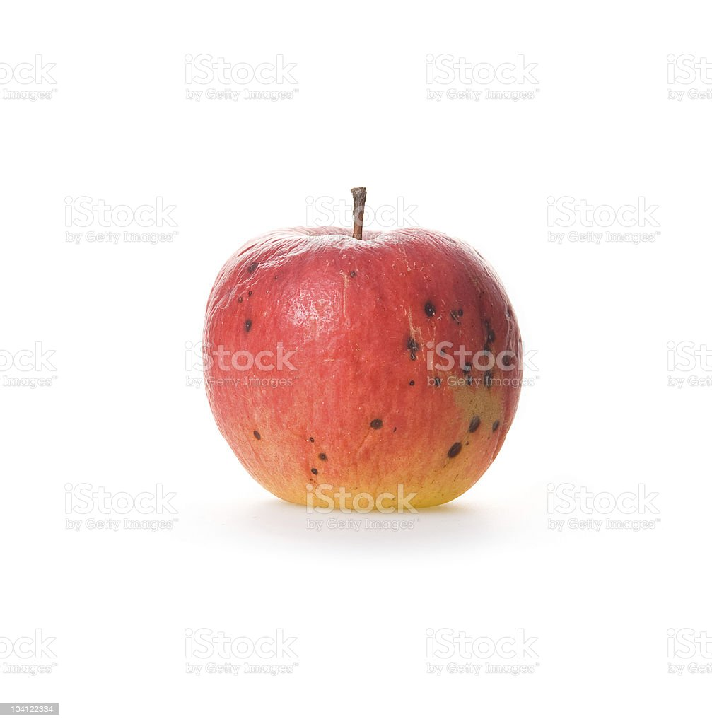 Ripe spoilage red apple isolated on white royalty-free stock photo