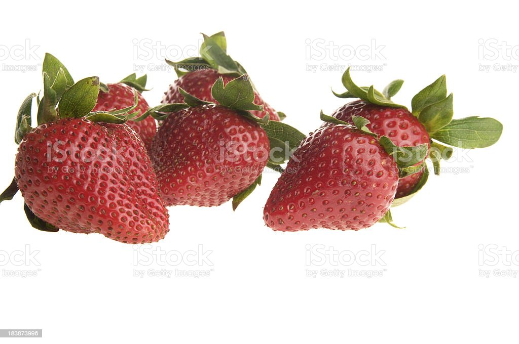 Ripe strawberries isolated on white. royalty-free stock photo