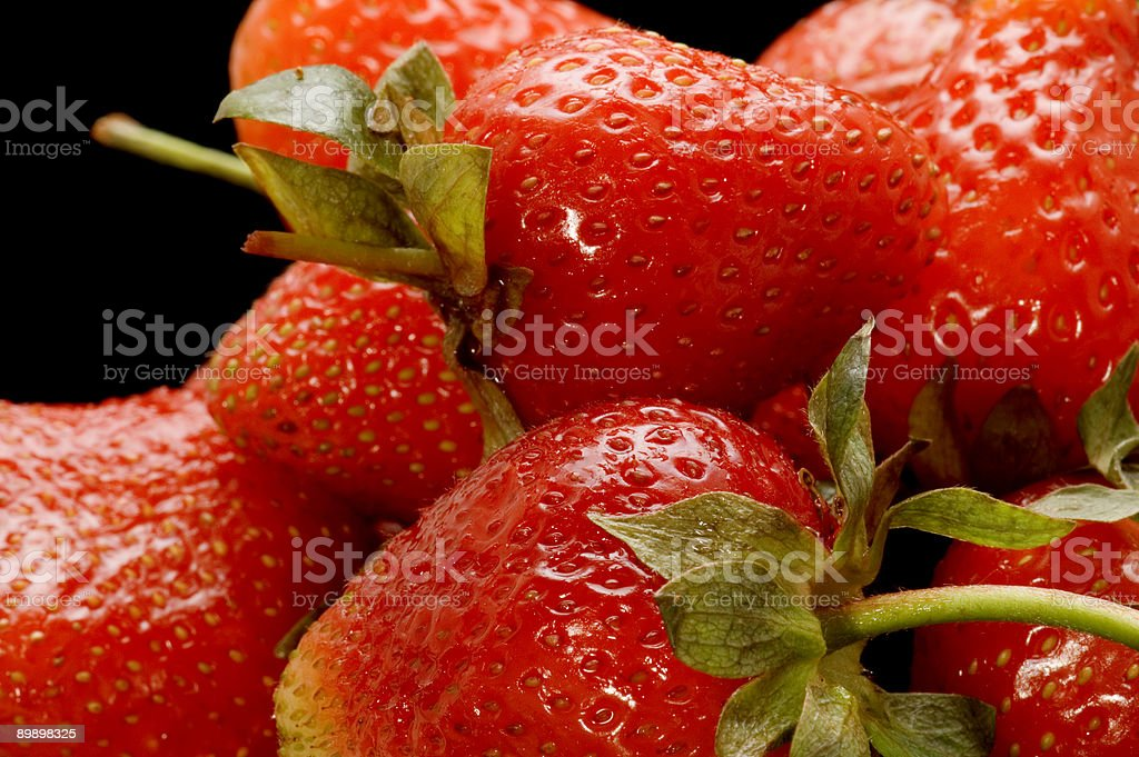 ripe strawberries macro royalty-free stock photo