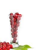 Ripe sweet appetizing cherry isolated on white background. Free space for text.