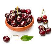 Ripe sweet appetizing cherry isolated on white background