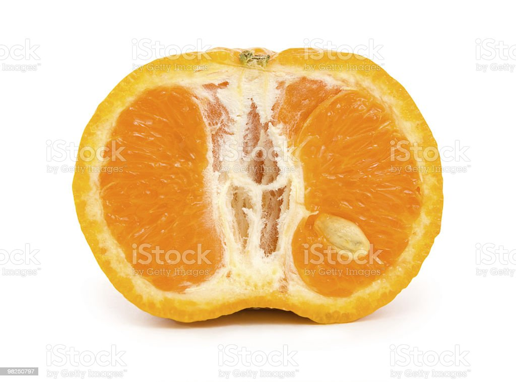 Ripe tangerine isolated royalty-free stock photo