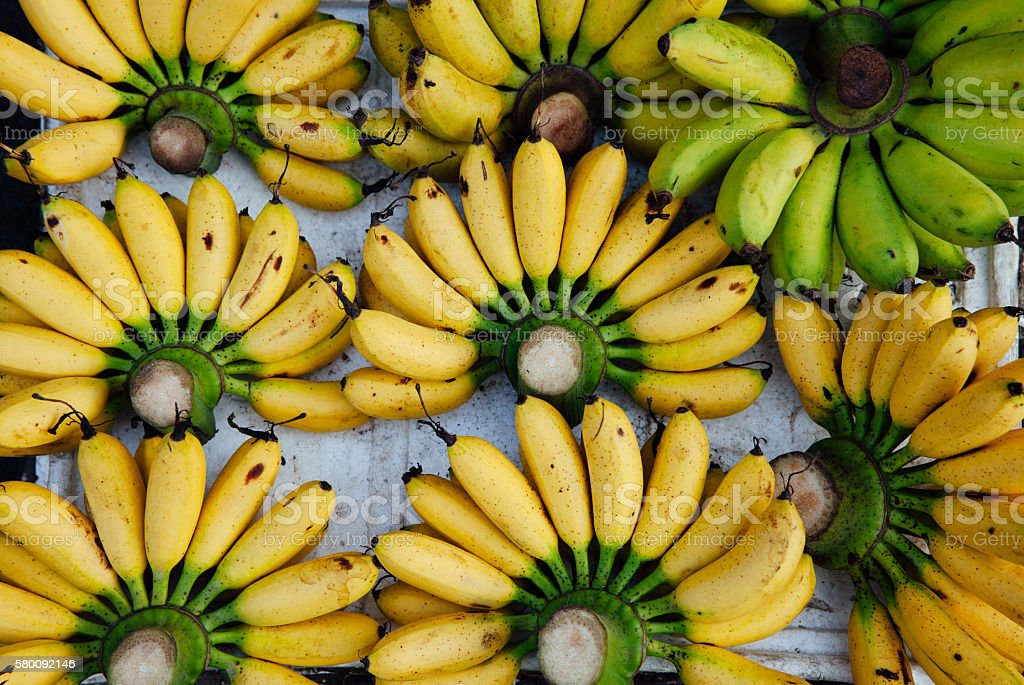 Ripe yellow bananas at the market stock photo