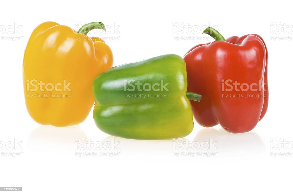 Ripe Yellow, Green and Red Paprika royalty-free stock photo