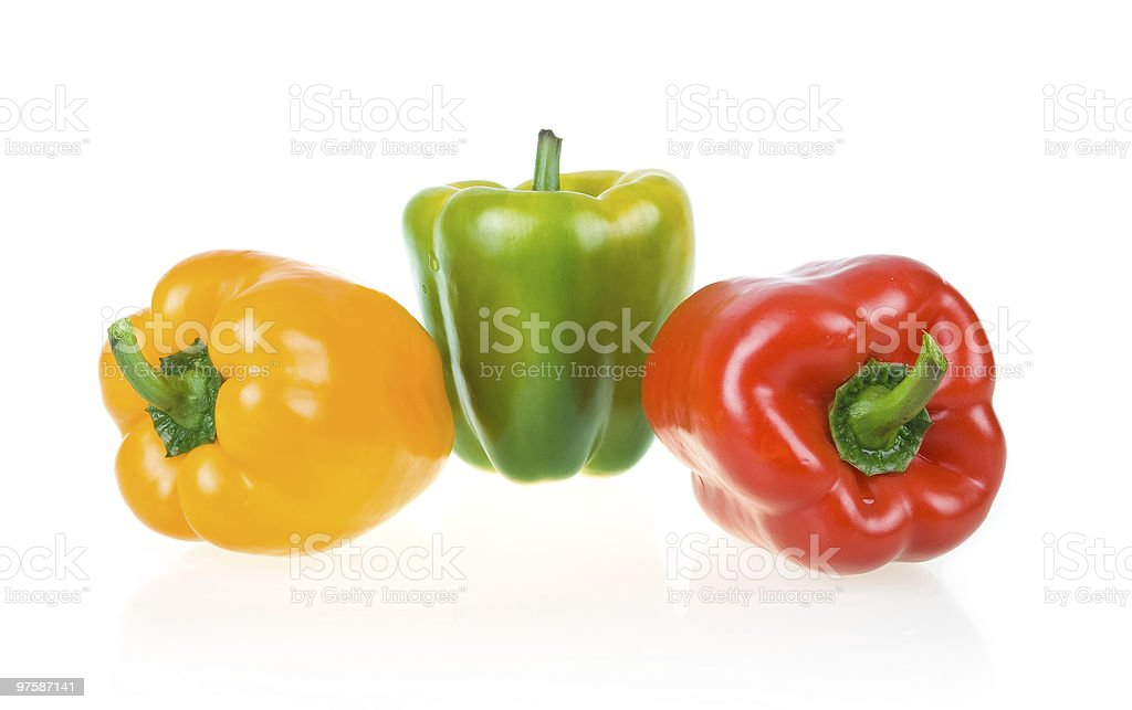 Ripe Yellow, Green and Red Paprika royaltyfri bildbanksbilder