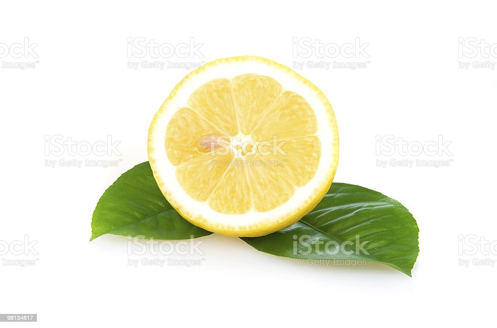 Ripe Yellow Lemons Isolated over White royalty-free stock photo
