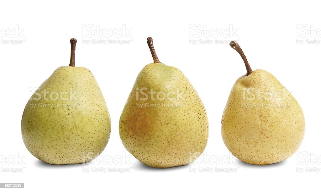Ripe yellow pears on a white royalty-free stock photo