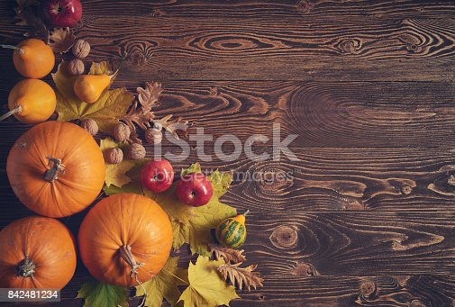 istock Ripe yellow pumpkins over wooden background 842481234