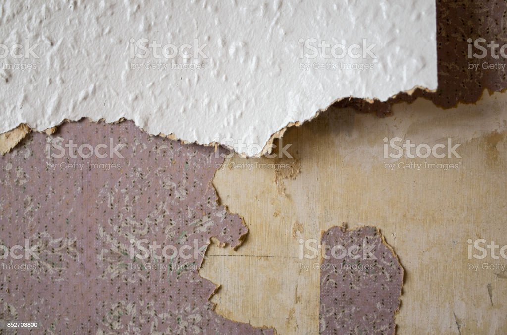 Ripped and Torn Wallpaper during Renovation royalty-free stock photo