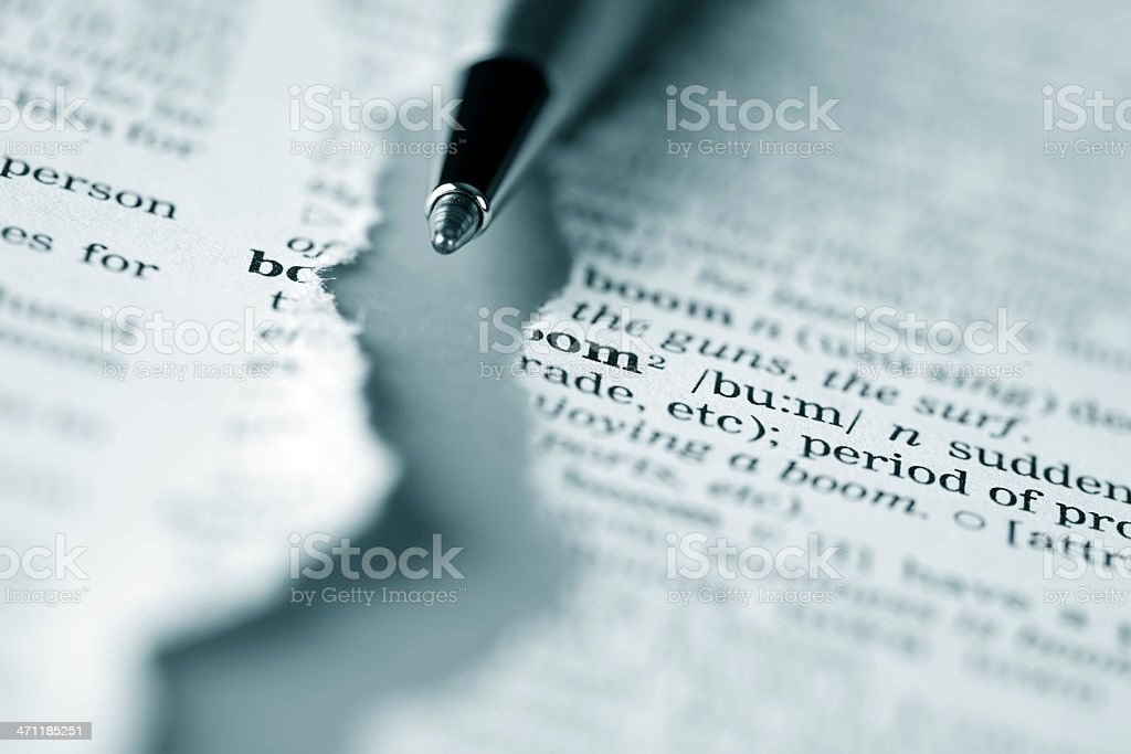Ripped dictionary page series: boom stock photo