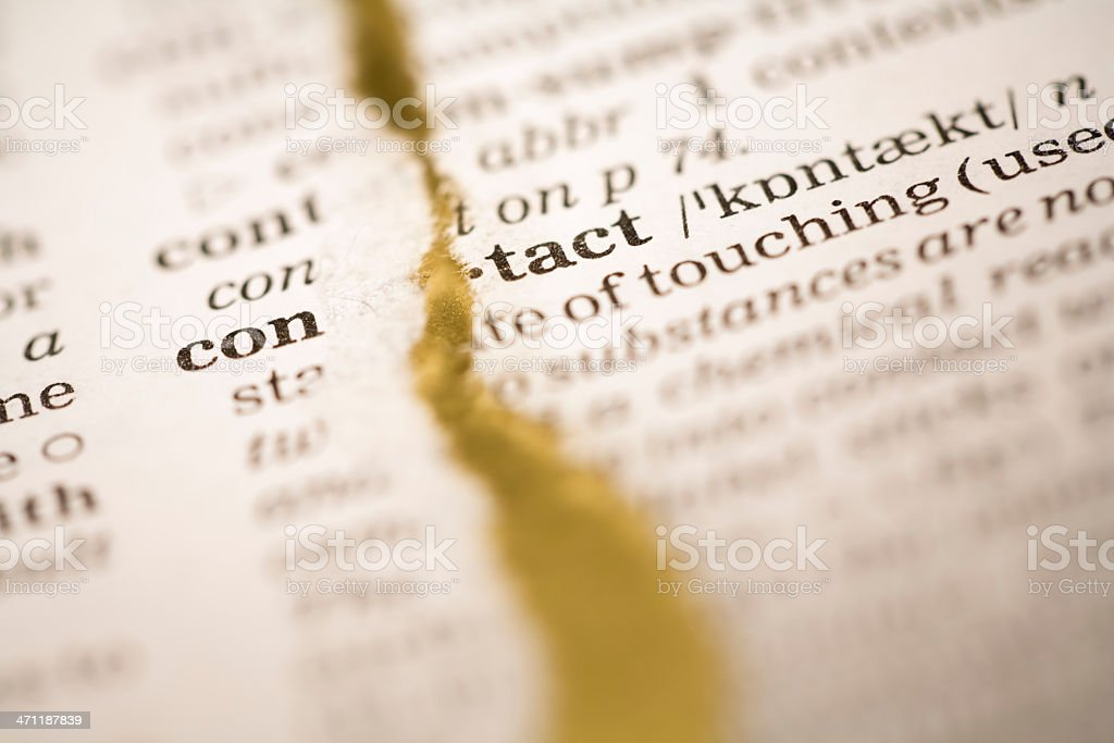 Ripped dictionary page series: contact royalty-free stock photo