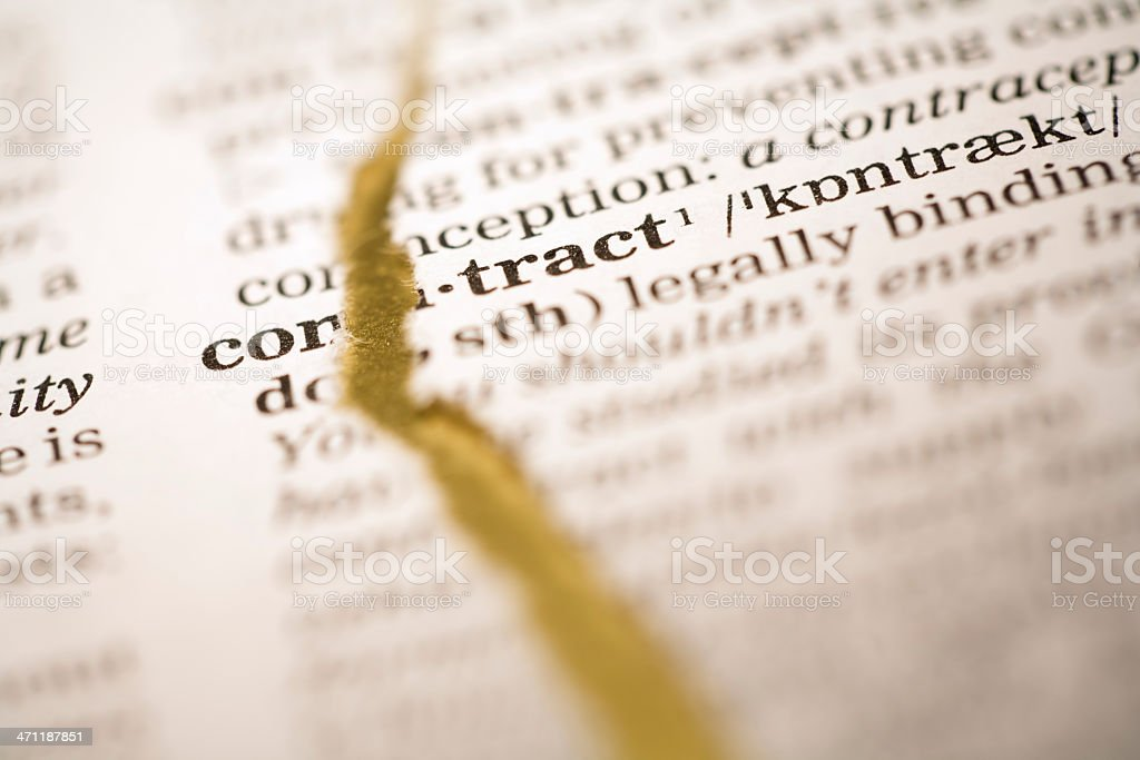 Ripped dictionary page series: contract royalty-free stock photo