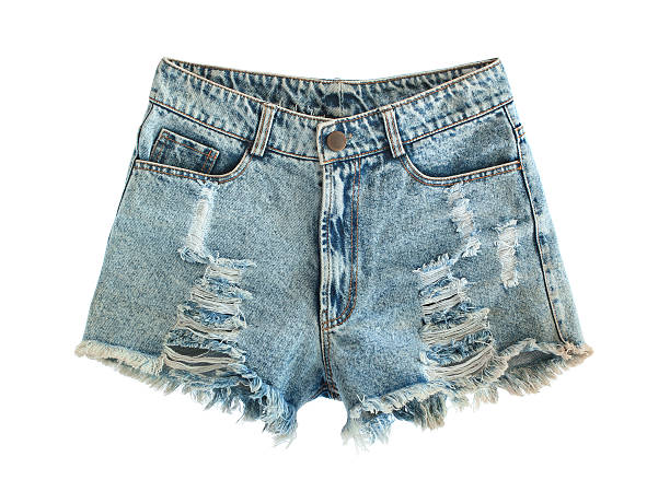 Ripped jeans shorts Ripped jeans shorts isolated on white background shorts stock pictures, royalty-free photos & images