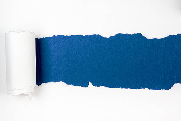 Ripped paper, space for copy, blue inside white Ripped paper, space for copy. finding stock pictures, royalty-free photos & images
