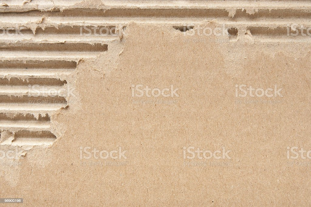 Ripped up corrugated cardboard royalty-free stock photo