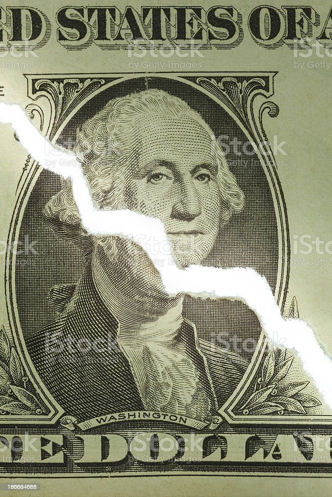 Ripped US Dollar Showing Downward Trend Chart royalty-free stock photo