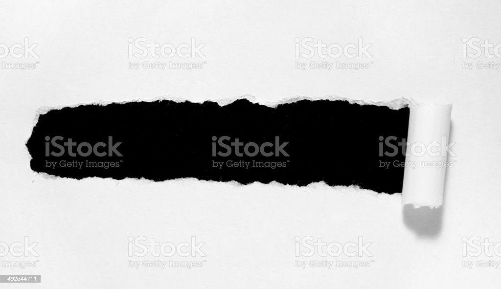 ripped white paper note message background stock photo