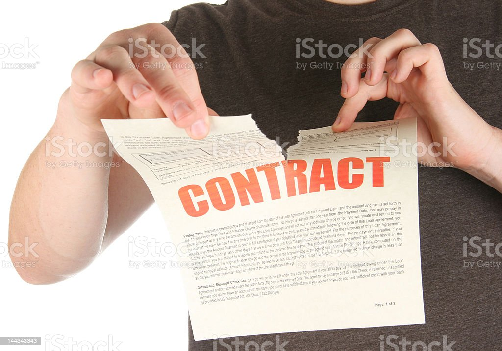 Ripping up a contract/promise/deed stock photo