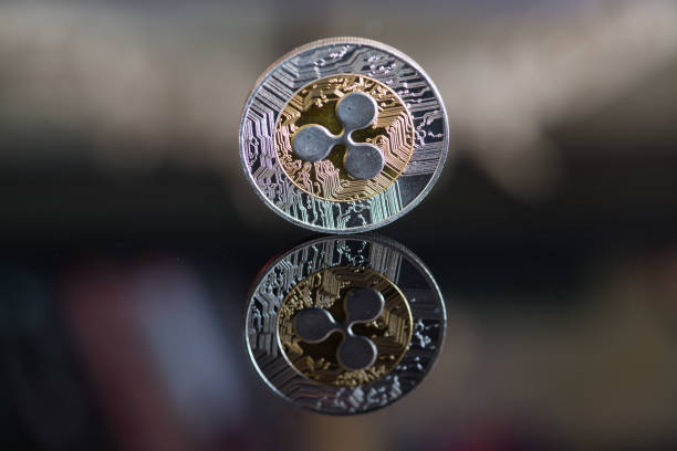 Ripple cryptocurrency coin stock photo